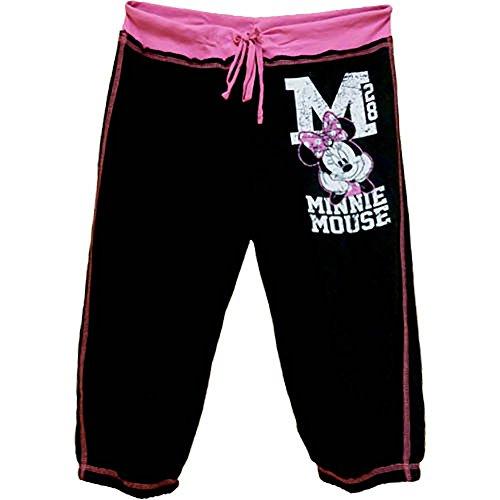 [Disney Minnie Mouse Juniors Capri Cropped Sweat Pants - Black Pink White XS] (Minnie Mouse Nose)