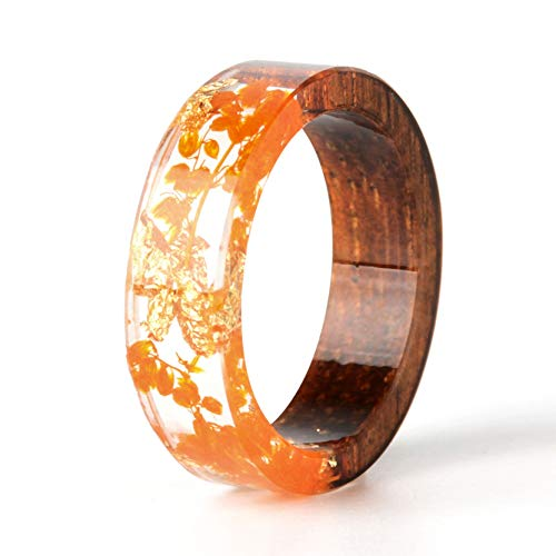 Orange Flower Ring - NDJEWELRY Unique Handmade Dried Flower Ring Wood Resin Ring with Gold Foil Orange Bloom Flower Ring Best Gift for Her Size 6.5