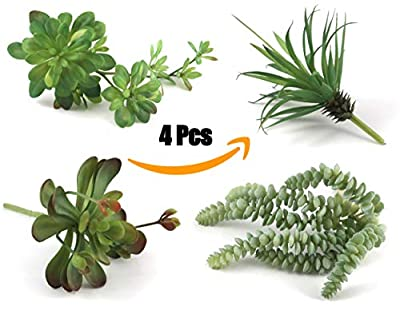 Voxm Artificial Succulent Plants for Office and Home Decor at Indoors and Outdoors | 4 Large Size Fake Succulents without Pot and Livable at Pot or Unpotted.