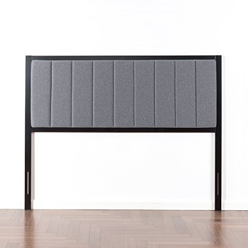Zinus Banded Grey Upholstered Metal Headboard, - Grey Metal