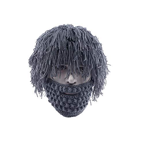CVMbro2X Handmade Knitting Man Wig Beard Hat Warm Winter Halloween Detachable Wool Beard Funny Wig Cap Grey ()
