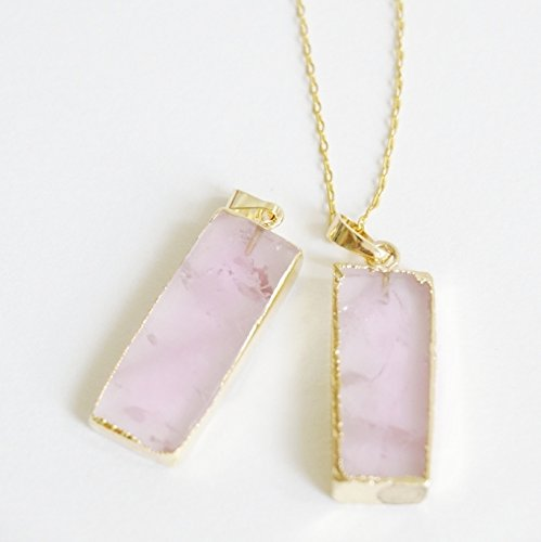 quartz on inches pink rose necklace stainless steel kisspat natural pendant teardrop chain s p