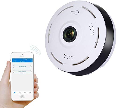 AUSHA ® 4K Panoramic Smart IP CCTV Security Camera with WiFi Wireless Connectivity , Night Vision, 2-Way Audio , Support 128 GB Micro SD Card Slot , Motion Detection and Fish Eye