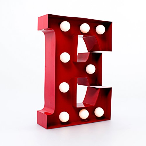 Metal Letter Lights - Red (Letter E) Christmas Xmas Holiday Present by Giggle Beaver