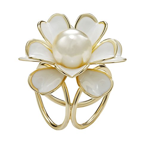 OKAJEWELRY Scarf Ring Simulated Pearl Camellia Flower Silk Scarf Ring Scarves Accessories Jewelry (Gold) ()