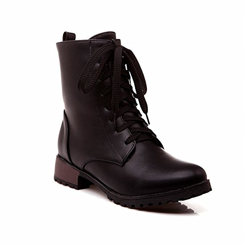 Show Shine Women's Fashion Leather Low-heel Lace-up Ankle-high Boots Black 1ZYpp85Y