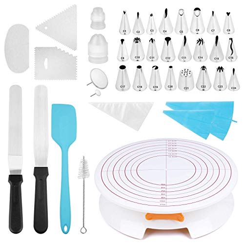 YUJUE Cake Turntable with Lock Cake Decorating Stand,All-In-One Cake Decorating Kit Supplies with 24 Cake Decorating Tips 2 Icing Spatula, 3 Icing Smoother and Cleaning Brush and One Silicone Spatula (Cake Decorating Tops)