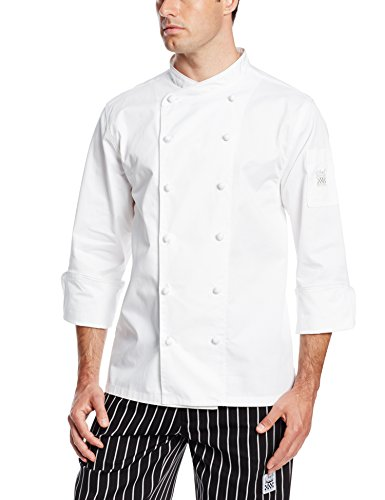 Chef Revival J007 Luxury Cotton Corporate Chef Jacket with White Piping and Hand Rolled Button Style, X-Small, White (Clothing Chef Revival)