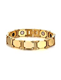 Mens Tungsten Healthy Theraphy Healing Germanium Magnetic Energy Bracelet, Gold