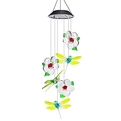 AVEKI Wind Chimes Outdoor, Solar Wind Chimes LED Color-Changing Hanging Lamp Waterproof Solar Powered Wind Chimes for Indoor Outdoor Garden Patio Decoration (Butterfly)