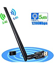 WiFi USB Adapter, AMBOLOVE AC600Mbps Dual Band 2.4G/5G WiFi Dongle 802.11n/g/b Wireless Network LAN Card Adapter for PC Desktop Laptop Support Windows 10/8.1/8/7/XP/Vista/Mac OS/Linux