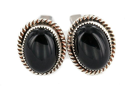 Handmade Certified Authentic Navajo .925 Sterling Silver Natural Black Onyx Native American Cuff Links ()