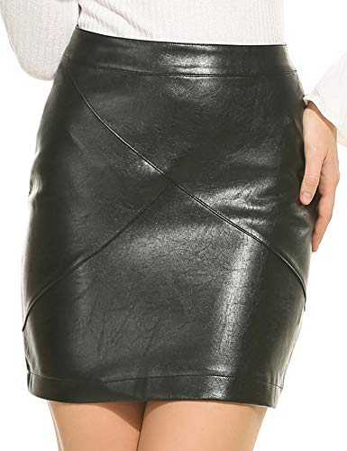 Zeagoo Women Basic Versatile Faux Leather Bodycon High Waisted Pencil Skirts, Black, Large