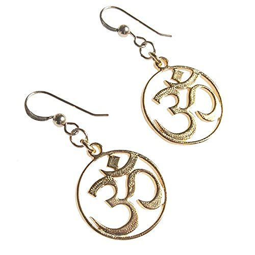 Pendant Wire Dangle Cast Gold (Delicate Om Gold-dipped Earrings on French Hooks)