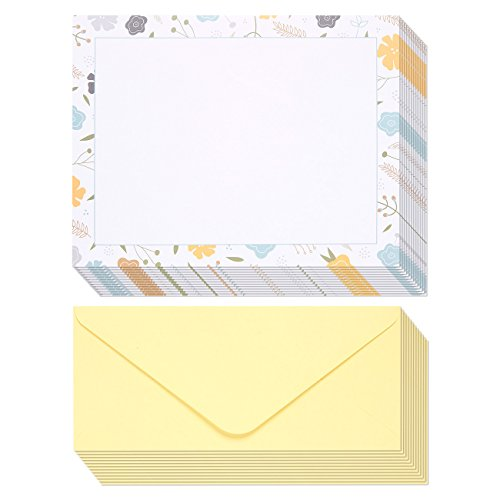 Stationery Paper - 48 Pack Floral Themed Printed Paper with Envelopes printer and Handwriting - Letterhead - 8.5 x 11 Inch Letter-Size Sheets with 4.1 x 9.2 Inch Envelopes