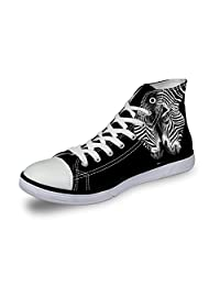 CHAQLIN Men Casual High Top Canvas Shoes 3D Animals Zoo Printed Flats Sneakers