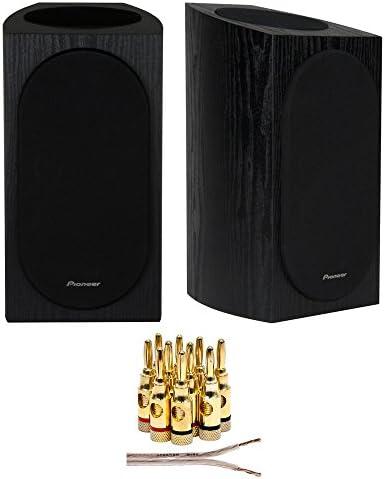 Pioneer SP-BS22A-LR Andrew Jones Designed Dolby Atmos Bookshelf Speaker Black 16 AWG Speaker Wire 100ft Brass Speaker Banana Plugs 5-Pair Open Screw