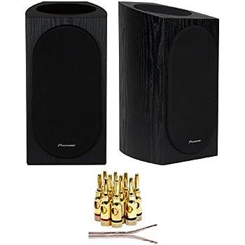 Pioneer SP BS22A LR Andrew Jones Designed Dolby Atmos Bookshelf Speaker Black 16 AWG Wire 100ft Brass Banana Plugs 5 Pair Open Screw