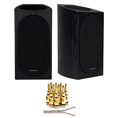 Pioneer SP-BS22A-LR Andrew Jones Designed Dolby Atmos Bookshelf Speaker (Black) + 16 AWG Speaker Wire 100ft + Brass Speaker Banana Plugs 5-Pair (Open Screw)