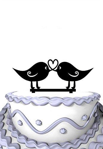 Meijiafei Love Birds Heart Design Silhouette Rustic Wedding Anniversary Cake -