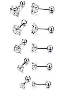 FUNRUN JEWELRY 5 Paris Stainless Steel Stud Earrings for Women Men CZ Helix Tragus Barbell Earrings 3-7mm