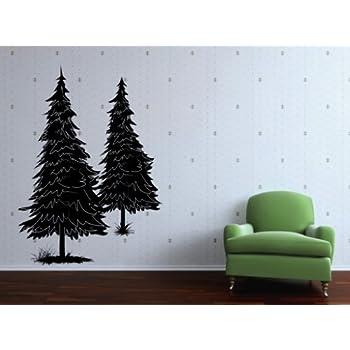 Amazon Com Vinyl Wall Decal Two Pine Tree Art Design