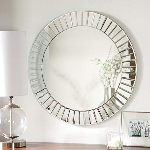 Modern Geometric Bevelled Mirrored Frame Art Deco Sliver Round Mirror Sunburst Effect Sidney Accent Mirror (31.5