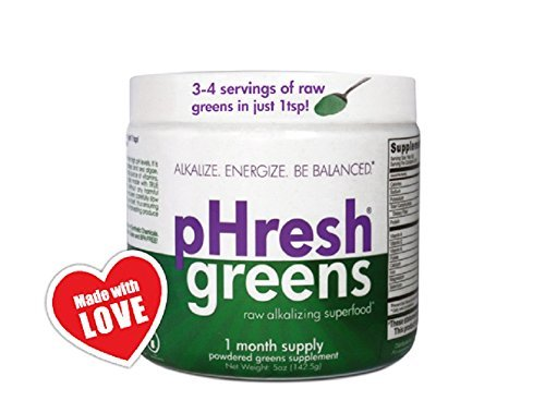 pHresh greens Organic Raw Alkalizing Superfood Greens Powder - 1 Month Supply | Gluten-Free | Natural Enzymes | Raw Nutrients | Great for Intermittent Fasting 5oz by pHresh Products