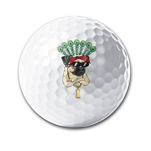 Pug With Sunglasses And Peacock Feathers White Elastic Golf Balls Practice Golf Balls Golf Training Aid - Israel Sunglasses
