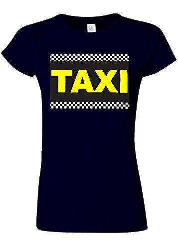 オークション寂しいぶどうTaxi Cab Funny Novelty Navy Women T Shirt Top-S