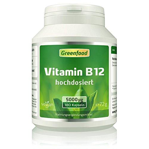 Vitamin B12, 5000 mcg, 180 Kapseln, vegan - wichtig für Nervensystem und Denkvermögen, stimmungsaufhellend. OHNE Magnesiumstearat.