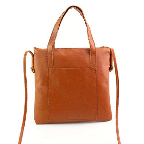 ShenPr Clearance Women PU Leather Large Capacity Multifunction Handbag Shoulder Bag Tote Purse (Brown)