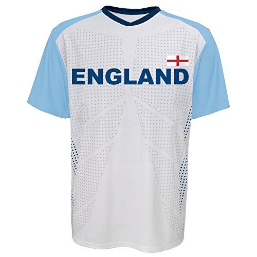 World Cup Soccer Apparel - World Cup Soccer England Federation Jersey Short Sleeve Tee, Medium (10-12), White