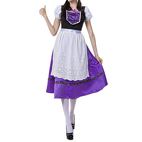 GOVOW Bavarian Oktoberfest Cosplay Costumes for Women Plus Size Apron Barmaid Dirndl -