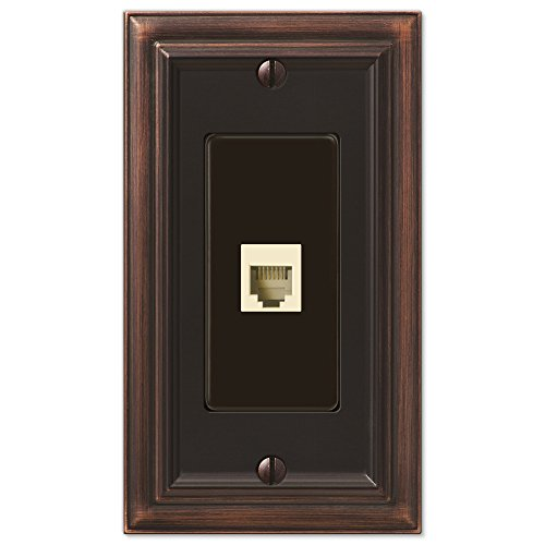 AmerTac 94PHVB Amerelle Continental Aged Bronze Cast 1 Phone Wallplate - Phone Outlet Switchplate