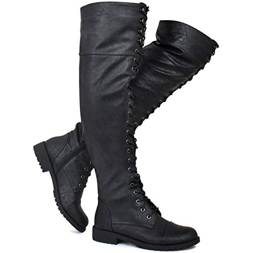 Premier Standard - Women's Lace Up Over Knee High Sexy Boots - Side Zipper Comfortable Walking Boots, TPS Boots-84Gul Black Pu Size 8