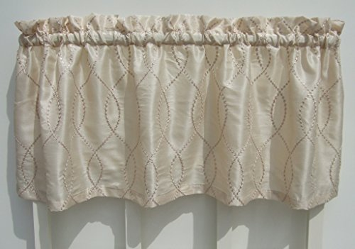 Ivory Gold Geometric Swirl Valance Window Treatment
