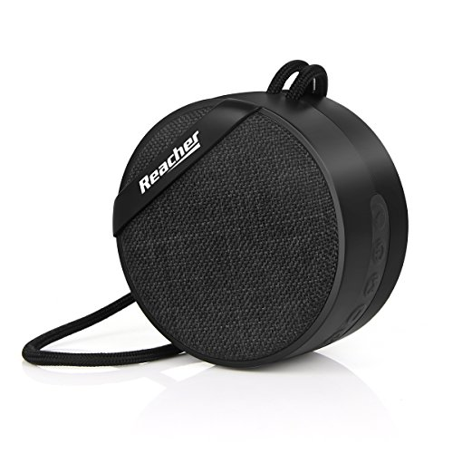 Reacher Portable Small Wireless Bluetooth Speaker MP3 Player with FM Radio, Mini Size, Line in, Fabric Front and Back, TF/Micro SD Card Socket for Phone (Black)