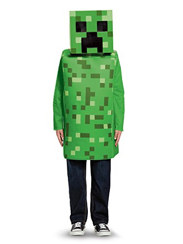 Creeper Classic Minecraft Costume, Green, Medium (7-8)]()