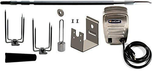 (OneGrill Weber Fit Stainless Steel Complete Grill Rotisserie Kit W/ 13 Watt Electric Motor; 1/2 Inch Hexagon Spit Rod (Fit: 400 Series 4 Burner Weber Genesis II E-410, E-435, S-435 LX E-440, LX S-440)