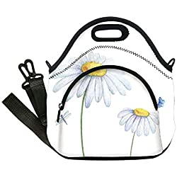 Insulated Lunch Bag,Neoprene Lunch Tote Bags,Dragonfly,Chamomiles Moths Dragonflies Refreshing Nature Template Print with Soft Colors,White Yellow,for Adults and children