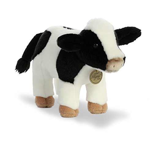 White Plush Cow - Aurora World Miyoni Holstein Calf Cow Plush Toy, Black/White