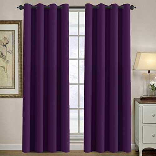 - H.VERSAILTEX Thermal Insulated Blackout Window Curtains for Bedroom/Living Room Ultra Soft and Smooth Innovated Microfiber Grommet Curtains 84 Inch Length - Solid in Plum Purple (One Panel)