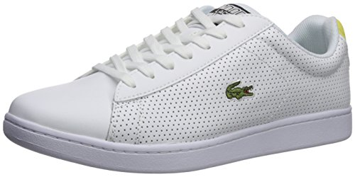 Lacoste Men's Carnaby Evo Sneaker, White/Yellow Perforated, 10 M US (Yellow Lacoste Shoes)
