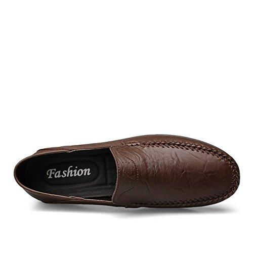 Artesanal On Verano Marrón Transpirables Hilo Slip Conducción Viajar Oscuro de Zapatos Coser Mocasines Hombre qSfqt