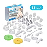 Baby Proofing, 33 Pcs Child Safety Cabinet Locks, 8 Cabinet Locks, 8 Corner Protectors, 6 Outlet Covers, 6 Drawer Locks, No Drill Required Baby Safety Locks, 3M Adhesive Baby Proofing Kit