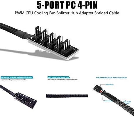 GeekerChip PWM Fan Hub,Ventilador Hub Splitter Cable-1 Hembra para ...