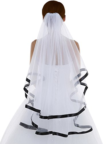 Edith qi Women's 2T 2 Tiers Bridal Wedding Veils with Ribbon Edge and Comb