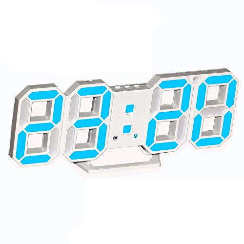 3D Digital Alarm Clock,Wall LED Number Time Clock with 3 Auto Adjust Brightness Levels,Led Electronic Clock with Snooze Function,Modern Night Light Clock Date,Temperature Display ()
