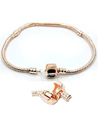 Rose Gold Plated Snake Chain Barrel Clasp European Style Fits Chamilia Zable Kay Click to Choose Your Size to Order!